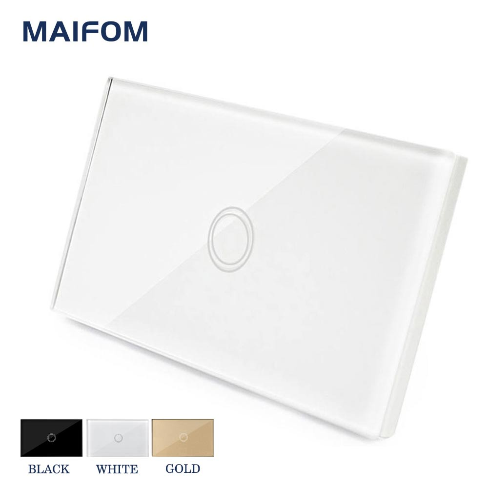 MAIFOM US/AU Wall Touch On/Off Switch Wall Light Interruptor Switch 1 Gang 1 Way Waterproof Glass Panels Switch Free Shipping 2017 free shipping smart wall switch crystal glass panel switch us 2 gang remote control touch switch wall light switch for led
