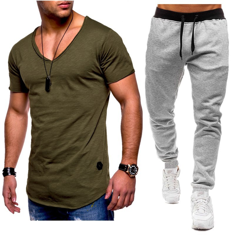 Summer Men Sets V-neck Short Sleeve T Shirts+pants Two Pieces Sets Casual Tracksuit Plus Size Male Tshirt Gyms Fitness Trouser