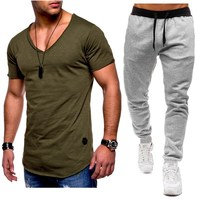 Summer Men Sets V neck Short Sleeve T Shirts+pants Two Pieces Sets Casual Tracksuit Plus Size Male Tshirt Gyms Fitness trouser