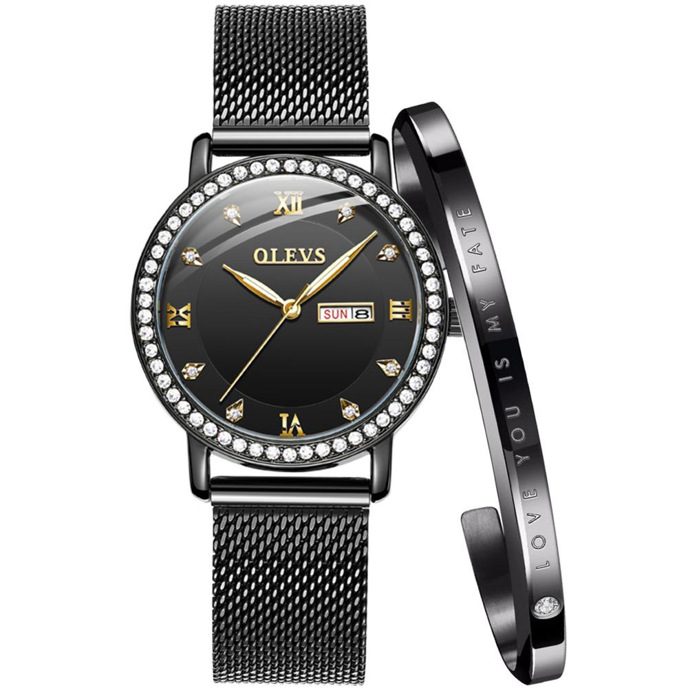 OLEVS Fashion Brand Ladies Watch Quartz Watch Women Casual Dress Watch Rhinestone Bracelet Watch Rose Gold Crystal reloje mujer