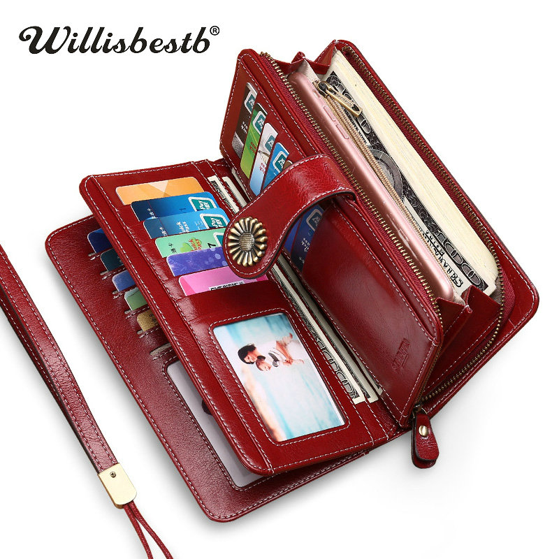 New Phone Pocekt Genuine Leather Wallet Woman Purse Girl Red
