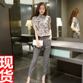 5173#2016 summer new Korean Ladies temperament suit fashion printing chiffon shirt pants nine two piece