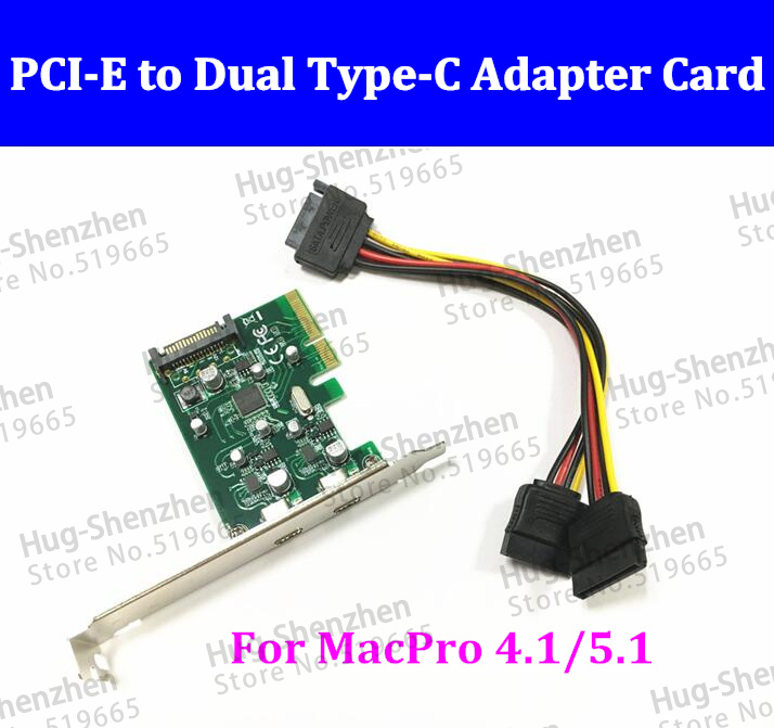 2 ports USB-C USB 3.1 Type-C PCI express Card pci-e 4x to usb3.1 Type C adapter Super Speed with sata cable for MAC PRO OSX 10.9 2 ports usb 3 1 type a type c pci express card pcie low profile bracket pci e 4x to usb3 1 type a
