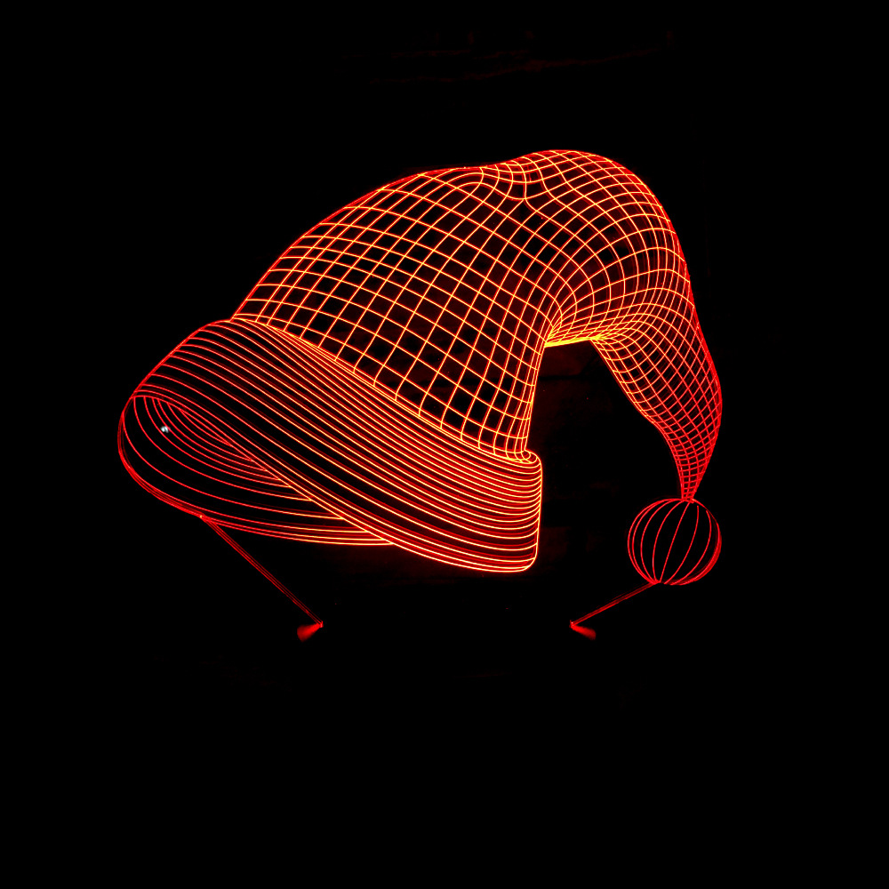 Christmas Hat 3D Night Light Novelty Usb Table Lamp Luminaria Led Bedside Baby Sleeping Light Fixtures For Kids Gifts Xmas Decor