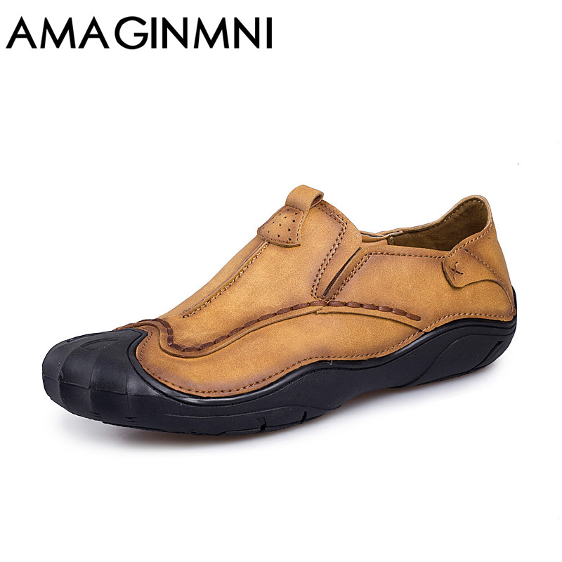 AMAGINMNI 2017 New High Quality Genuine Leather Men Loafers Slip-On Casual Shoes Man Luxury Brand Handmade shoes Wear-resistant dxkzmcm genuine leather men loafers comfortable men casual shoes high quality handmade fashion men shoes