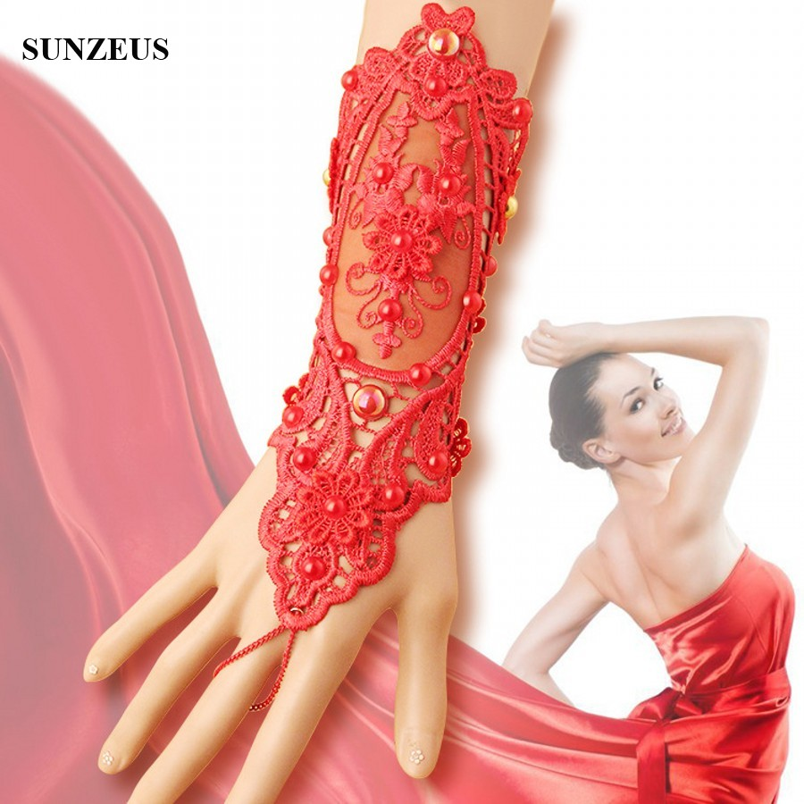 Red Bridal Gloves Pearls Bead Lace Wedding Gloves Opera Fingerless Women Party Glove BV-039