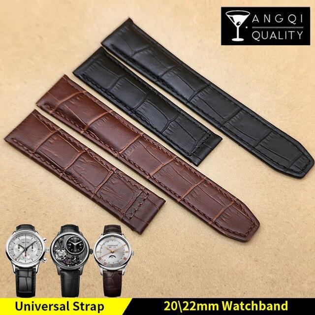Correa de reloj Piel De Becerro para Pontos, correa de reloj YQ de 20x18mm, 22x18mm, color negro y marrón
