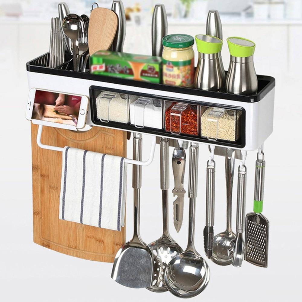 Multi functional Kitchen Seasoning Box Set Rack Wall Mounted Storage Shelf Plastic Hanging Rack Hook Kitchen