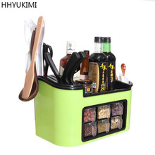 HHYUKIMI Knife/Fork Spice Rack Plastic Kitchen Organizer Shelf  For Spices Supplies Accessorie Seasoning Jar Storage kruidenrek