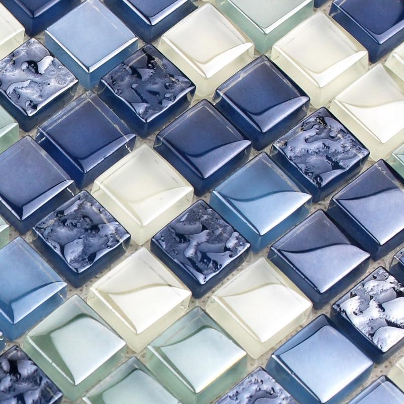 Bathroom Wall Mosaics Sea Blue Glass Backsplash Mirror Design Shower Wall Tile Kitchen