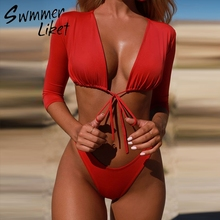 Half sleeve bikinis 2018 woman Micro bikini set Red sexy swimsuit Push up swimwear female High cut brazil bathing suit bathers