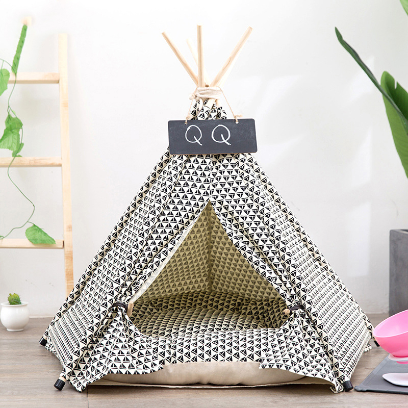 JORMEL Pet Tent Dog Bed Cat Toy House Portable Washable Pet Teepee Stripe Pattern Dhow Boat Print Pet House
