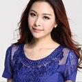 Topos De Malha New SpringFashion elegante Fino Ocasional de manga curta lace tops Diamantes mulheres blusas Sexy Oco camisa do laço das mulheres