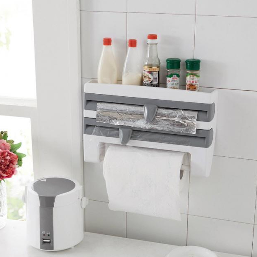 Plastic Refrigerator Cling Film Storage Rack Wrap Cutter Wall Hanging Towel Tool Home Kitchen Store