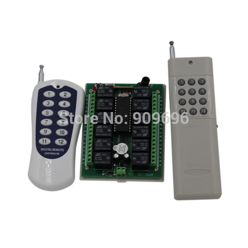 DC 12v 12CH remote control Switch Remote ON-OFF 2 transmitter + 1 receiver Free shipping vu duo 2 remote control replacement remote controller for vu duo 2 vu duo2 remote control satellite receiver free shipping