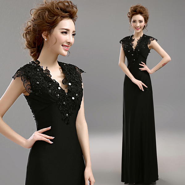 Clearance Black Sexy Evening Dress Deep V Collar Beading Sequined