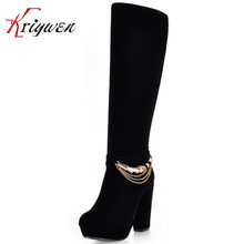 Winter Boots Black  Women's Fashion Sexy Thick High Heels Platform Shoes Sexy Chains Knee High Boots Stretch Boots For Ladies