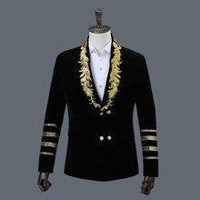 Nightclub Blazer Men Suit Jacket 2019 Stage Costumes For Singers DJ Performance Black Mens Dress Suits Jackets Black Sequin M цена