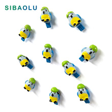 10pcs Artificial Parrots Fridge magnet cartoon animal whiteboard Resin Refrigerator Magnets child Home DIY Decoration Acessories