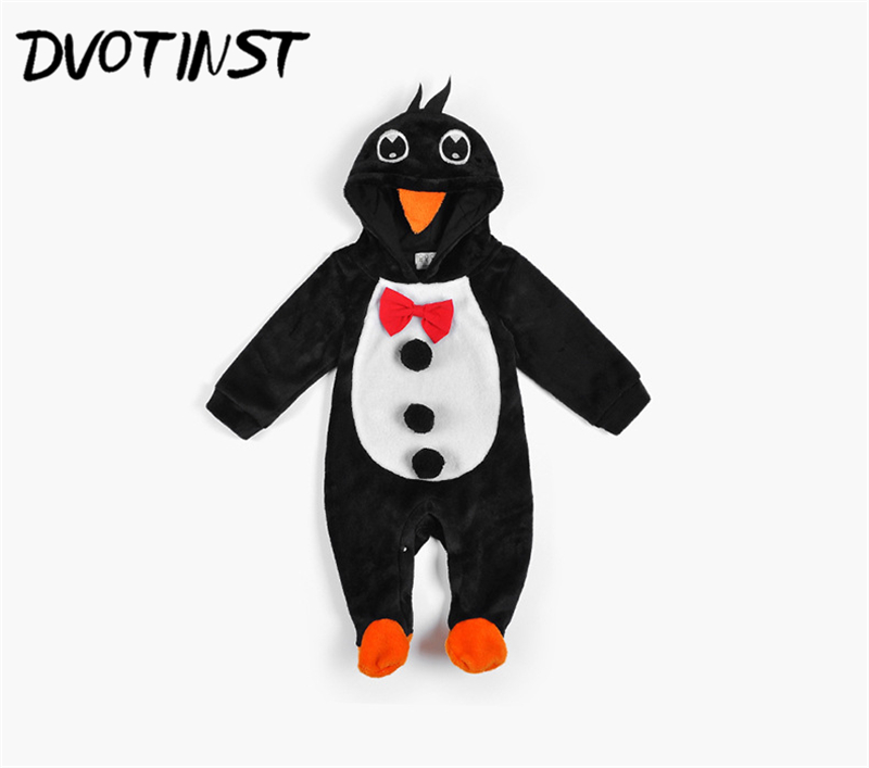 Dvotinst Baby Boys Girls Winter Fannel Penguin Rompers Cosplay Halloween Purim Clothes Outfits Infantil Toddler Jumpsuit Costume 2017 baby boys girls long sleeve winter rompers thicken warm baby winter clothes roupa infantil boys girls outfits cc456 cgr1