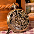 Vintage Chinses Flying Dragon&Phoenix Pendant Bronze Tone Cable Chain Pocket Watch Necklace Mechanical Hand Wind Gift Watch Hot