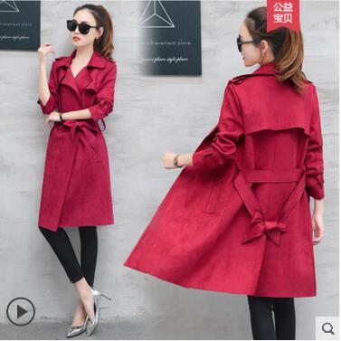 La Veste 2018 Daim pourpre vert Section Vent Port Version Coréenne Taille En Longue Dame De Manteau rouge Printemps Du orange Genou Nouveau Beige qYFwSaP