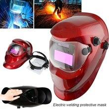 Solar Auto Darkening Red Welding Helmet Arc Tig Mig Welder Mask Protect Anti-Glare Lens
