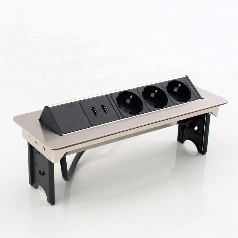 Prise horizontale élégante de bureau d'acier inoxydable 50 pièces/paquet