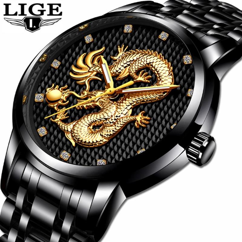 LIGE Mens Watches Top Brand Luxury Fashion Business Quartz Watch Men Full Steel Black Gold Dragon