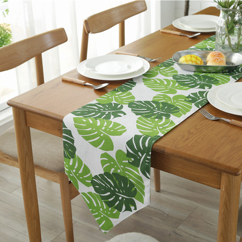 Green Leaf  Table Runners Cotton Linen  European Tea Runner  Modern Home Decoration Party