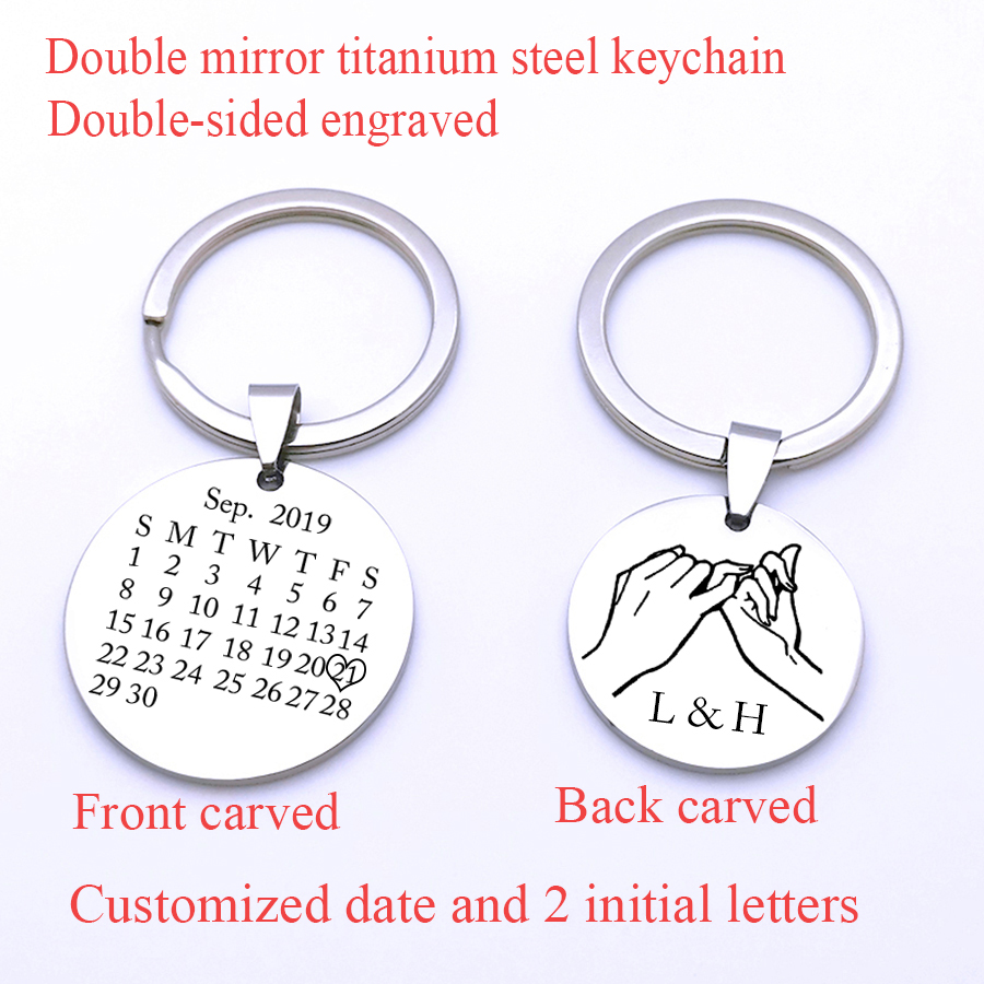 Customized Calendar Date Pinky Promise 2 Initial Letters Keyring Couples Women Men Boyfriend Husband Anniversary Gift Keychain
