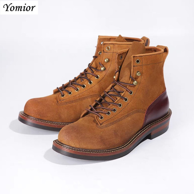 8d2340fc35a Top Quality Handmade New Arrival All-matching Men Platform Motorcycles Boots  Lace-Up Kanye West Cow Leather Fashion Casual Boots