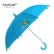 OLYCAT Kids Umbrella Cartoon Children Long Umbrellas Blue Pink Windproof 8K Aluminum Rain Girls Boys Paraguas Semsiye