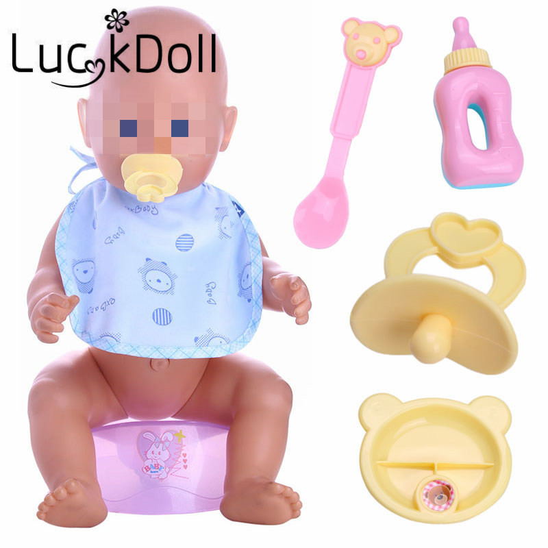 LUCKDOLL 5pcs (milk Bottle+forks+nipple+Dinner Plate)Simulated Doll Tableware Four Sets Fit 43 CM Baby Doll Accessories,Gift