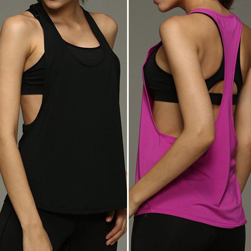 New Summer Women Tank Tops Dry Quick Yoga Shirts Singlet Running Training Shirts Loose Gym Fitness Sport Sleeveless Vest 2017