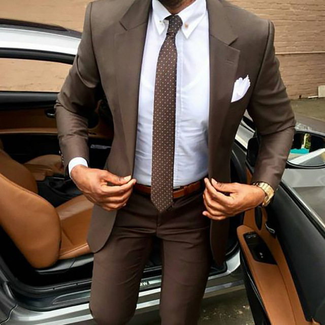 Men Suit Pants Tuxedos Jacket Coat Party-Dress Slim-Fit Business Wedding Brown Elegant