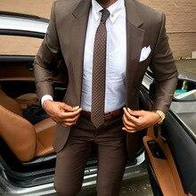 Костюм мужской классический Новейшие модели пальто брюки Коричневый мужской костюм Slim fit элегантные смокинги Свадебное деловое платье Летняя куртка и брюки костюм для похудения спортивные костюмы мужские