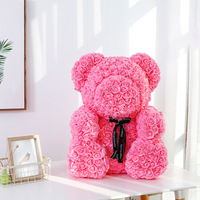 Bear Artificial Flowers Rose Multicolor Plastic Foam Rose Flower Teddy Bear Valentines Day Gift Birthday Party Spring Decoration
