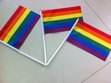 50 pcs Bunting decoration Hand Waving LGBT party parade Gay Pride Carnival Les Rainbow flag 14x21cm