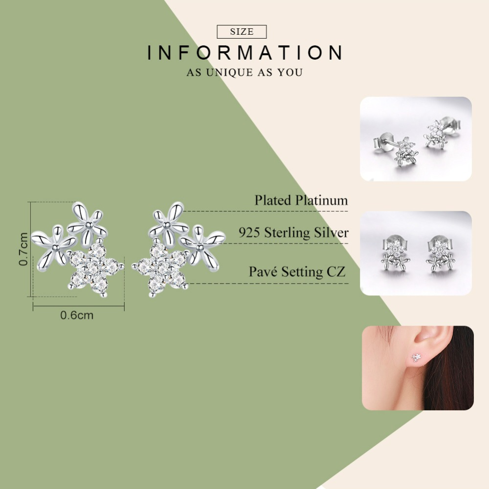 WOSTU 100% 925 Sterling Silver Gypsophila Flower Stud Earrings For Women Snowflake Earrings Fashion Silver 925 Jewelry CTE030 1