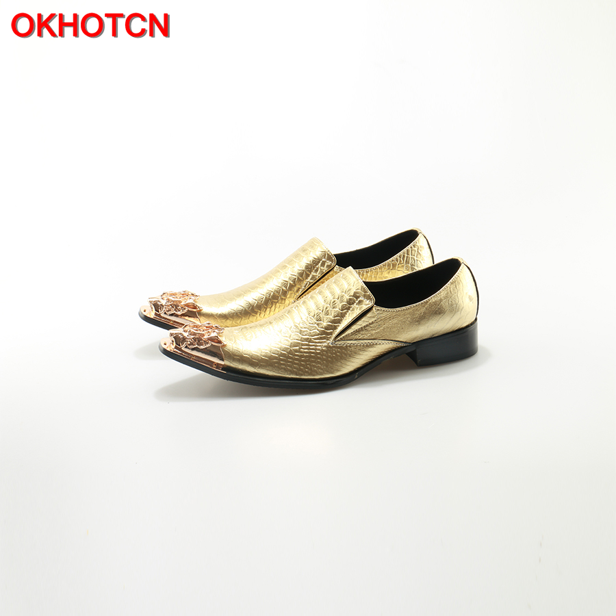 OKHOTCN Quality Party Wedding Men Oxfords Shoes British Style Genuine Leather Metal Toe Gold Shoes Slip On Business Men's Flats whitby n sanders p business benchmark 2nd edition pre inttrmediate to intermediate bulats and business preliminary teacher s resource book