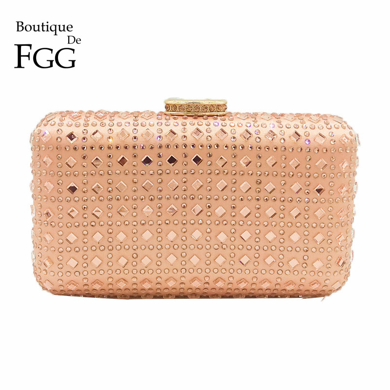 Boutique De FGG Champagne Rhinestone Crystal Clutch Purse Women Evening Bag Wedding Party Prom Chain Shoulder Crossbody Handbag solid white acrylic women evening purse bridal striped handbags wedding party prom clutch bag long chain shoulder crossbody bag
