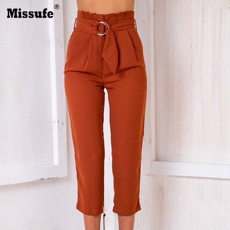 Missufe Summer Autumn Capris High Waist Vintage Straight Women Pant Casual Loose Elegant OL Style Office Ladies Pants With Belt