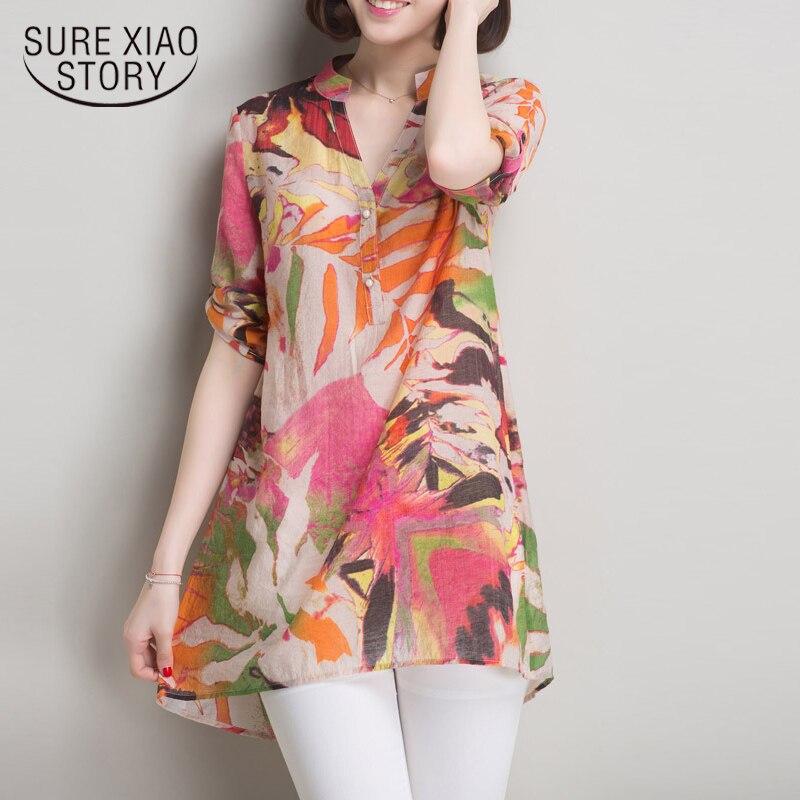 2018 Fashion Plus Size Women Blouse Shirt Summer Print Ladies Tops Blusas V Collar Casual Blouse Women Shirt Female Tops 0199 40