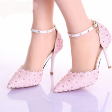 New Style 3Inches Pink Pointed Toe Lace Women Pumps Ladies Platform Formal Shoes Ankle Strap Stiletto Heel Bridesmaid Shoes