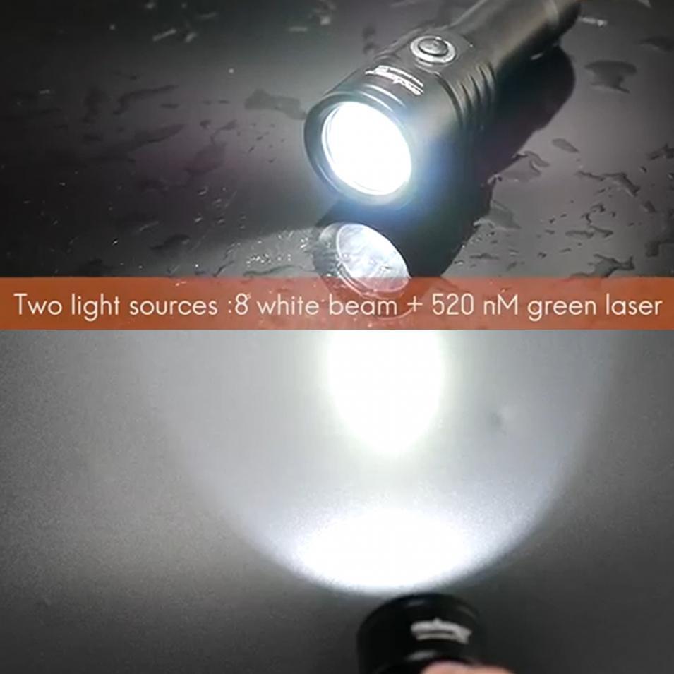 Lampe de poche de plongée TrustFire DF003 100 m sous marine 3000 lumen 3T6 3 x XM L T6 LED étanche torche et 2*26650 batterie et chargeur - 4