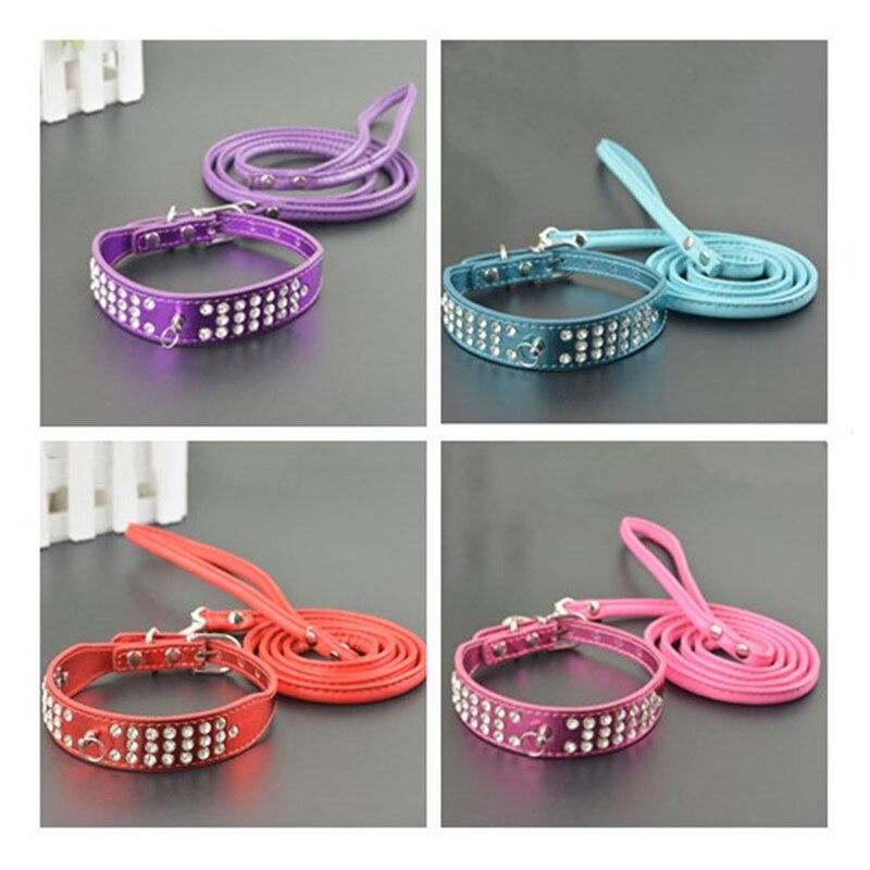 뜨거운 판매! 패션 3 행 다이아몬드 개 목걸이 반사 - 애완 동물 제품