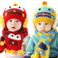 Niños de punto sombrero y la bufanda de los niños nueva 2016 de la moda de invierno kids boy navy blue star print 2 unidades fija el regalo de navidad
