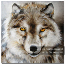 Professional Artist Hand-painted High Quality Lonely Wolf Oil Painting on Canvas Head with Amber Eyes