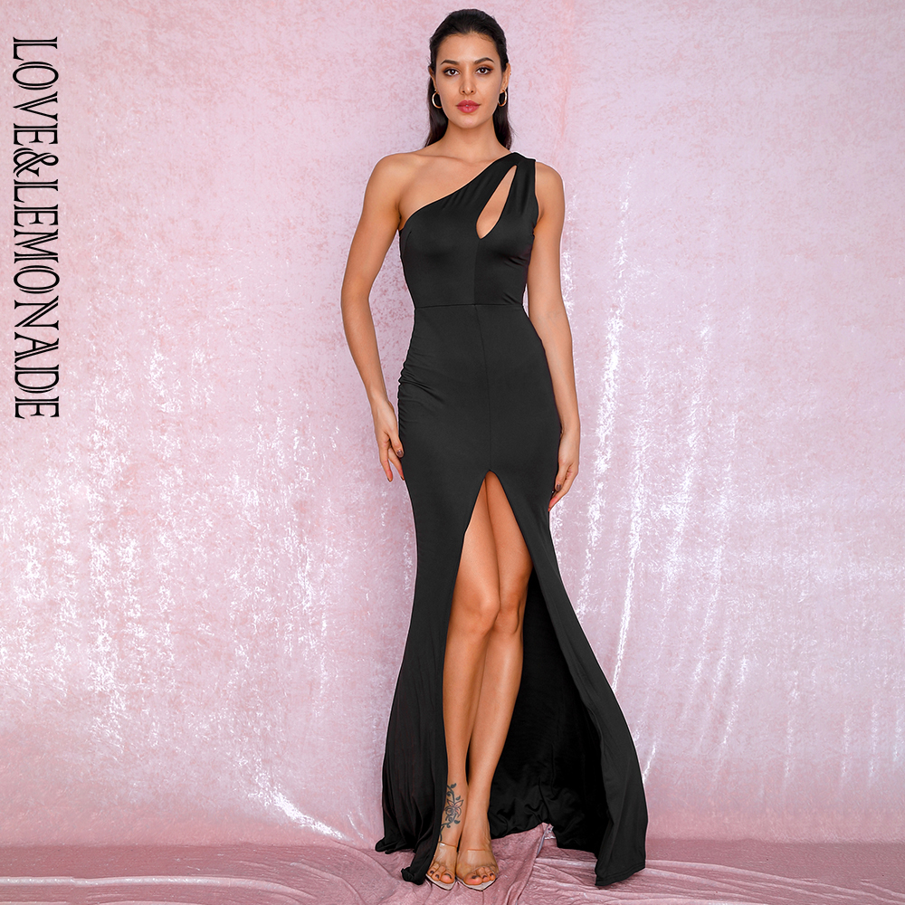 LOVE&LEMONADE Sexy Black One-Shoulder Cut Out Bodycon Elastic Material Split Party Maxi Dress LM81921  BLACK